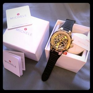 Authentic Michele women's gold watch